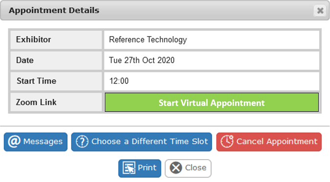 appointment detail containing zoom link via the EventReference diary system